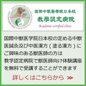 バナー|教学認定病院制度|国際中獣医学院日本校